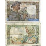 Banknoten Sammlung Frankreich Pick Nummer 99 - 10 FRANC