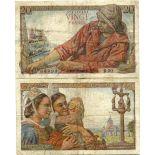 Sammlung von Banknoten Frankreich Pick Nummer 100 - 20 FRANC