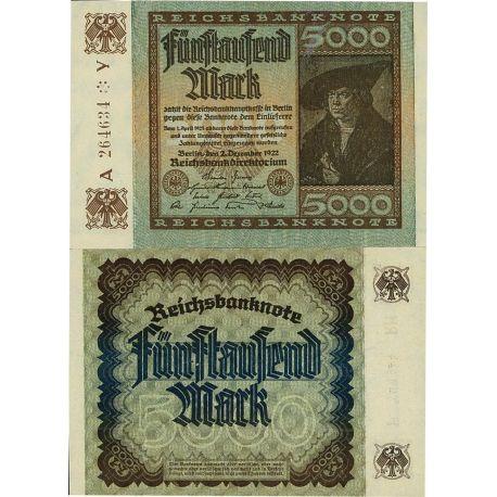 Billets de banque Allemagne Pk N° 81A - 5 000 Mark