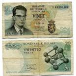 Sammlung von Banknoten Belgien Pick Nummer 138 - 20 FRANC 1964