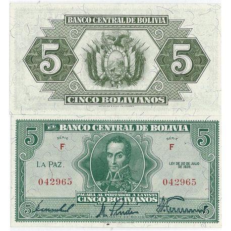 Bolivie - Pk N° 129 - Billet de 5 Pesos