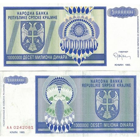 Billets de collection Billets de banque Rep. Serbe de Krajina Pk N° 12R - 10 MIL Dinara Billets de Croatie (Serbie) 4,00 €