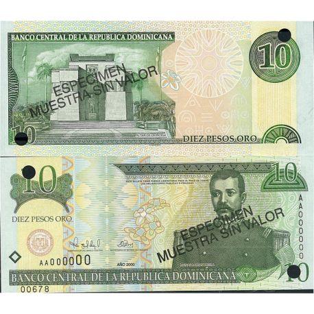 Billets de collection Billets de banque Dominicaine Repu. Pk N° 159S - 10 Pesos Billets de République Dominicaine 13,00 €