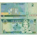 Precioso de billetes Fiji Pick número 104 - 2 Dollar 2002