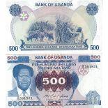 Banknote Uganda Pick number 22 - 500 Shilling
