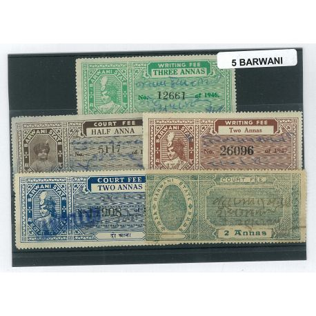 Barwani - 5 different stamps