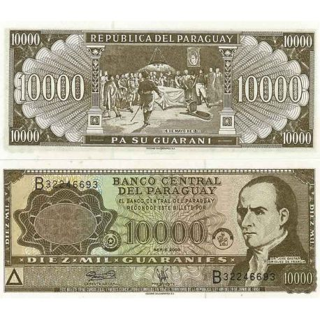 Billets de banque Paraguay Pk N° 216 - 10 000 Guaranis