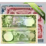 Afghanistan : Bel ensemble de 5 billets de banque de collection.