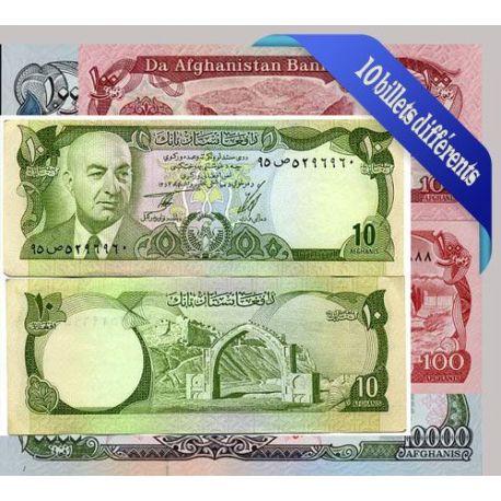 Afghanistan - Collection de 10 billets de banque tous différents.