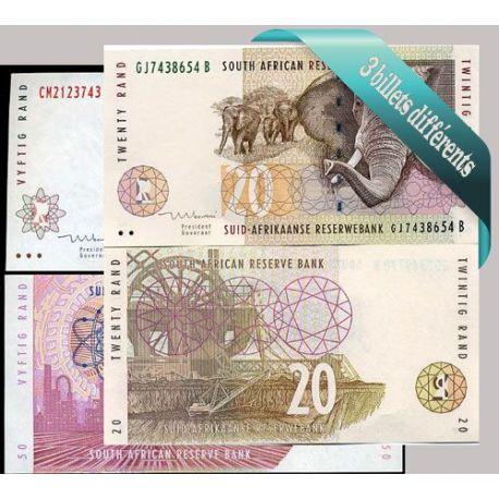 Belle collection de 3 billets de banque tous différents de Afrique Du Sud