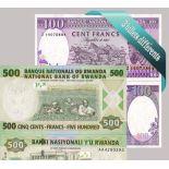 Schone Sammlung von 3 verschiedenen aller Banknoten Ruanda