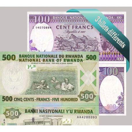 Belle collection de 3 billets de banque tous différents de Rwanda