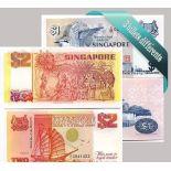 Hermosa colección de 3 diferentes todos los billetes en Singapur