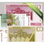 Eslovenia: Hermoso conjunto de 5 colección de billetes de banco.