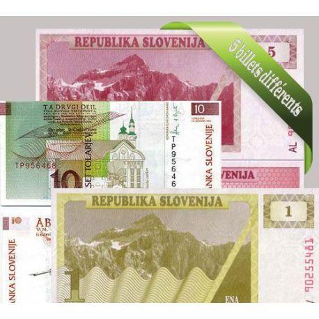 Slovenie : Bel ensemble de 5 billets de banque de collection.