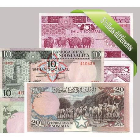 Billets de collection Belle collection de 5 billets de banque tous différents de Somalie Billets de Somalie 20,00 €