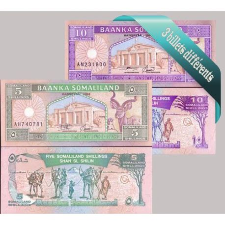 Somaliland : Bel ensemble de 3 billets de banque de collection.