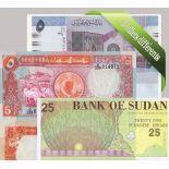 Sudán - Colección de 5 diferentes todos los billetes de banco.