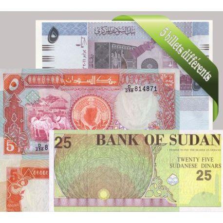Soudan - Collection de 5 billets de banque tous différents.