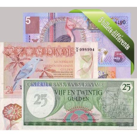 Suriname : Bel ensemble de 5 billets de banque de collection.