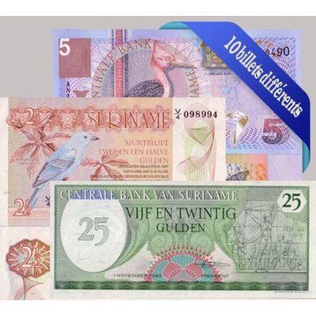 Belle collection de 10 billets de banque tous différents de Suriname