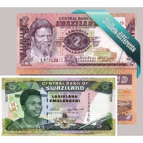 Belle collection de 3 billets de banque tous différents de Swaziland