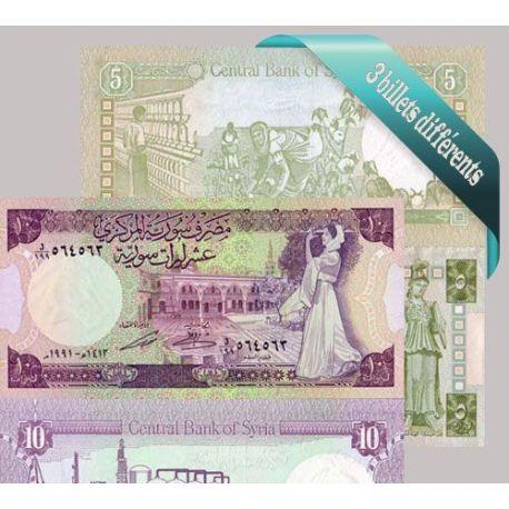 Syrie : Bel ensemble de 3 billets de banque de collection.