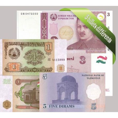 Tadjikistan : Bel ensemble de 5 billets de banque de collection.