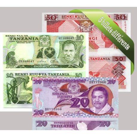 Belle collection de 5 billets de banque tous différents de Tanzanie