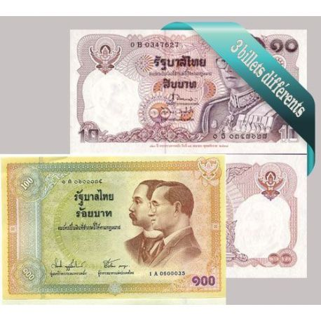 Thailande - Collection de 3 billets de banque tous différents.