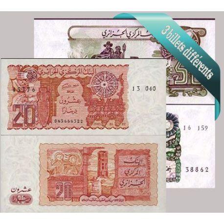Belle collection de 3 billets de banque tous différents de Algérie