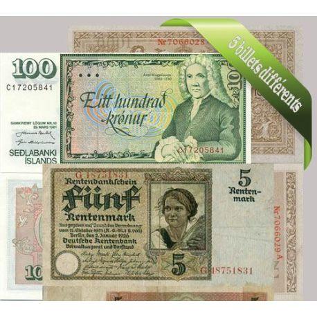 Allemagne - Collection de 5 billets de banque tous différents.