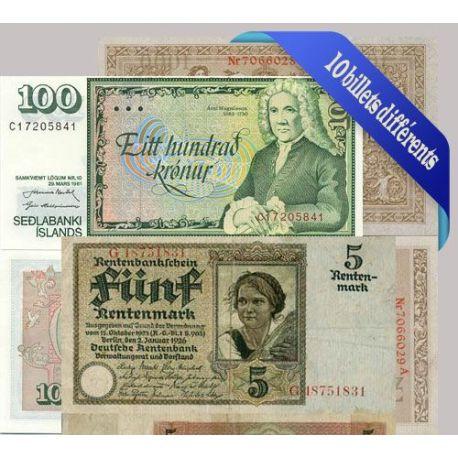 Belle collection de 10 billets de banque tous différents de Allemagne