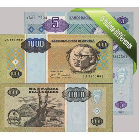 Belle collection de 5 billets de banque tous différents de Angola