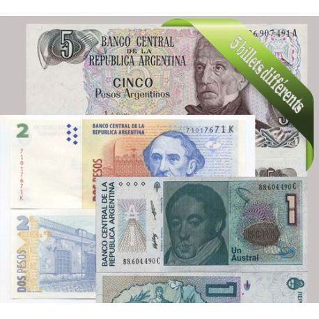 Argentine : Bel ensemble de 5 billets de banque de collection.