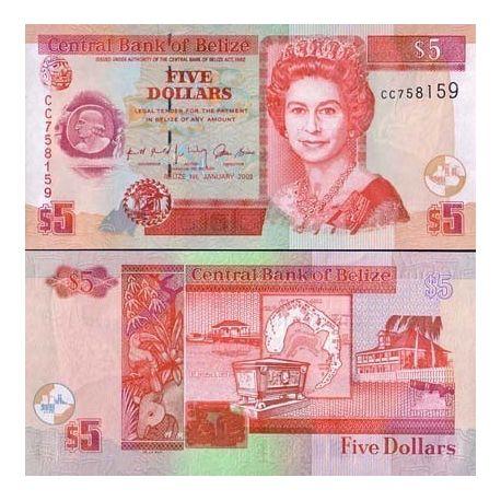 Belize - Pk N° 61 - Billet de 5 Dollars