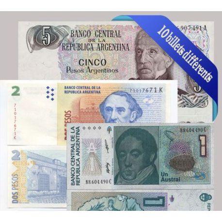 Argentine - Collection de 10 billets de banque tous différents.