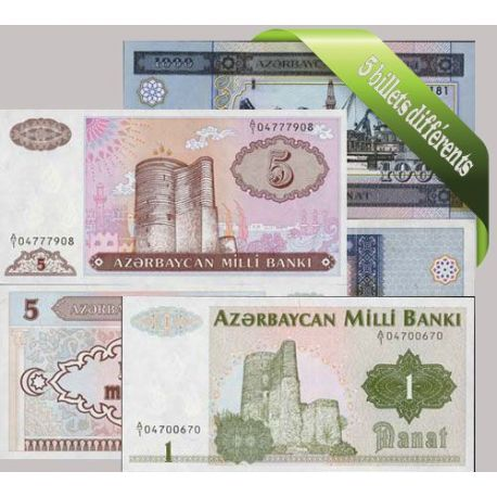 Azerbaidjan - Collection de 5 billets de banque tous différents.