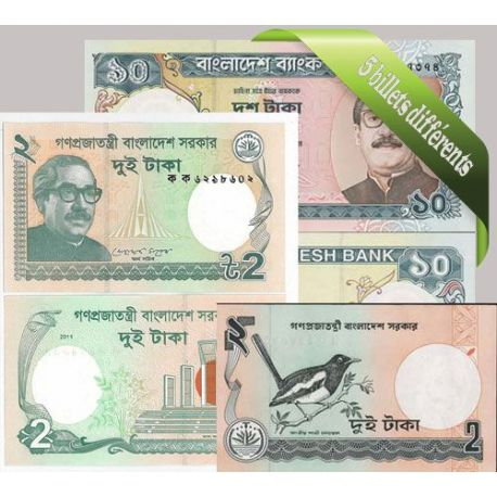 Bangladesh : Bel ensemble de 5 billets de banque de collection.