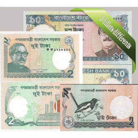 Bangladesh : Bel ensemble de 5 billets de banque de collection.