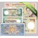 Bhutan- Schoner Satz von 5 Sammlung von Banknoten