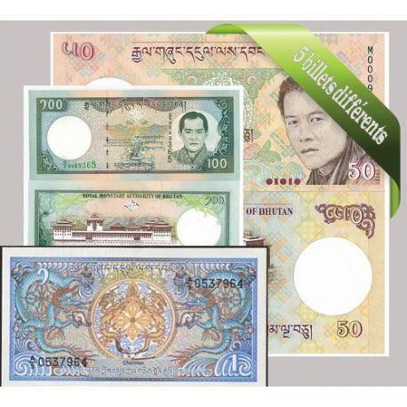 Bhoutan : Bel ensemble de 5 billets de banque de collection.