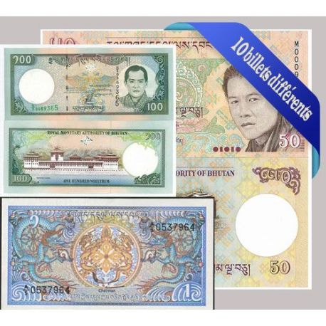 Belle collection de 10 billets de banque tous différents de Bhoutan
