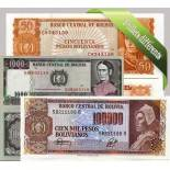 Bolivia - Collection of 5 different all bank notes.