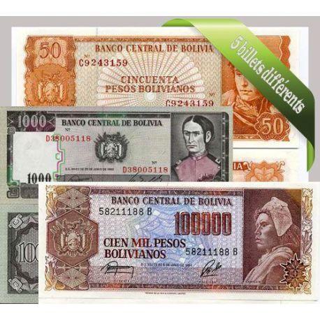 Bolivie - Collection de 5 billets de banque tous différents.