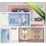 Bosnia: Hermoso conjunto de 5 colección de billetes de banco.