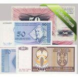 Bosnien- Schoner Satz von 5 Sammlung von Banknoten