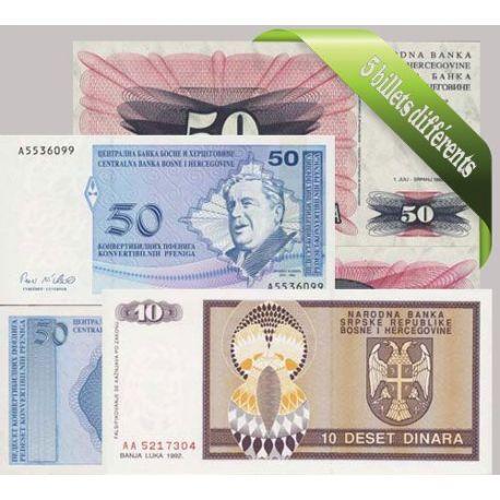 Bosnie : Bel ensemble de 5 billets de banque de collection.
