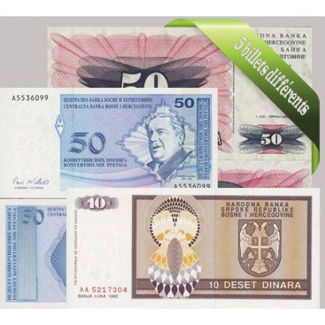 Bosnie : Bel ensemble de 5 billets de banque de collection.
