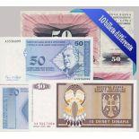 Bosnia - Colección de los 10 billetes diferentes.